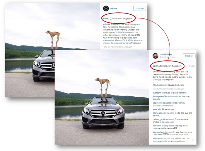 Influencer Marketing Beispiel bei thiswildidea und Mercedes GLA