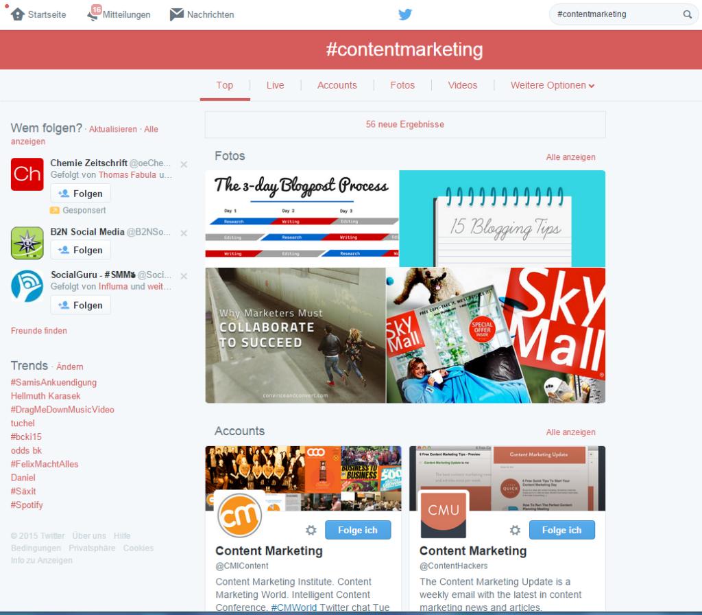 Beispiel Blogger Suche in Twitter mit Hashtag #ContentMarketing
