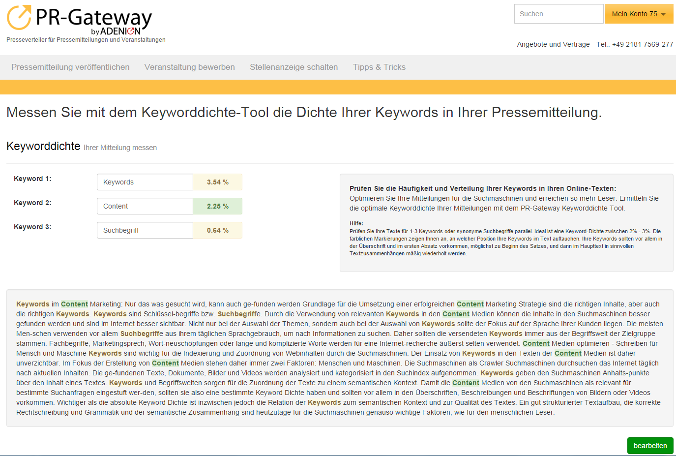 Keyword Dichte Prüfung Tool PR-Gateway