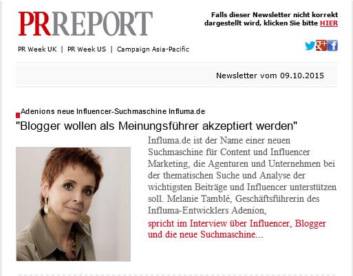 PR-Report_Melanie Tamblé über Influencer Relations